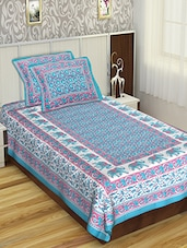 Jaipuri Print Cotton Single Bedsheet with 2 pillow covers -  online shopping for bed sheet sets