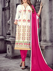 white churidaar suit unstitched suit -  online shopping for Unstitched Suits