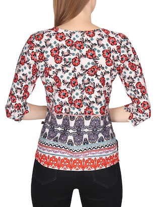 red casual printed top - 14676916 - Standard Image - 3