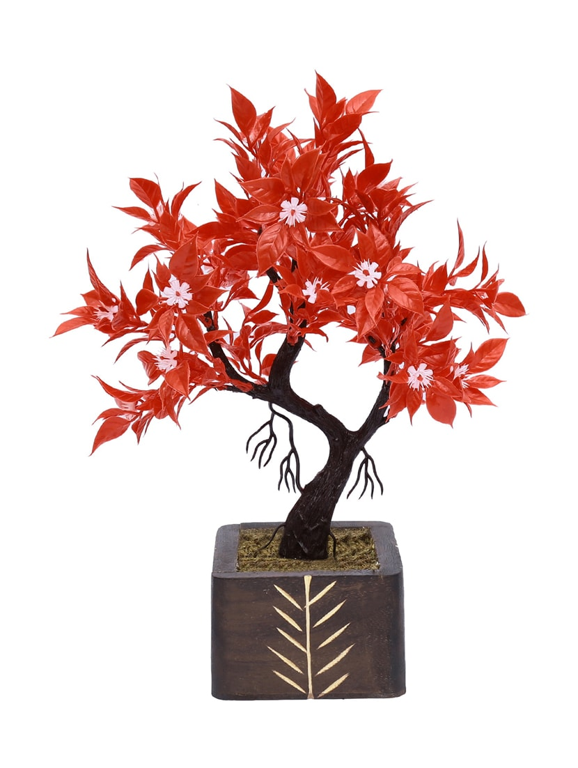 Buy Y Shaped Artificial Bonsai Tree With Red Leaves And White