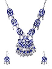 Blue Colored Metal Tribal Necklace - By