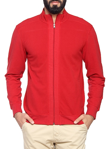 red cotton casual jacket - 14731951 - Standard Image - 1