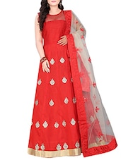 red silk blend fit & flare gown -  online shopping for gowns