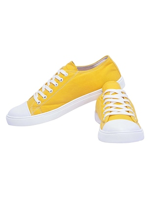yellow Canvas lace up sneaker - 14769419 - Standard Image - 3