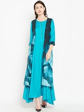 blue rayon fusion kurta -  online shopping for kurtas