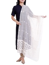cream cotton woven dupatta -  online shopping for Dupattas