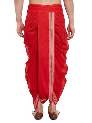 red cotton dhoti - 14794001 - Standard Image - 3