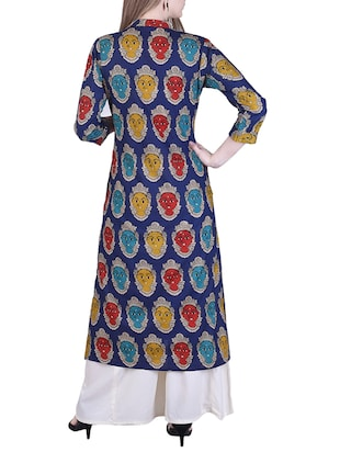 buy blue rayon straight kalamkari kurta by adesa online. Black Bedroom Furniture Sets. Home Design Ideas