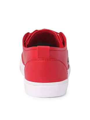 red leatherette lace up sneaker - 14811722 - Standard Image - 3