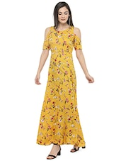 yellow floral maxi dress -  online shopping for Dresses