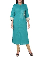 turquoise cotton straight kurta -  online shopping for kurtas