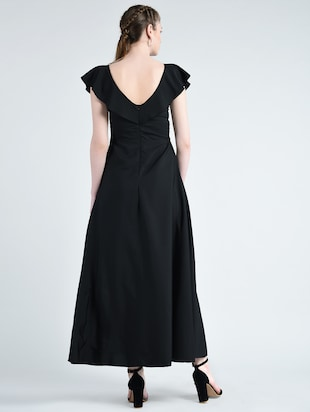boat neck flared gown - 14848876 - Standard Image - 3