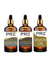 PRZ Combo Of Extra Virgin Coconut Oil, Extra Virgin Olive Carrier Oil & Lemon Essential Oil (Each 15ml) - By