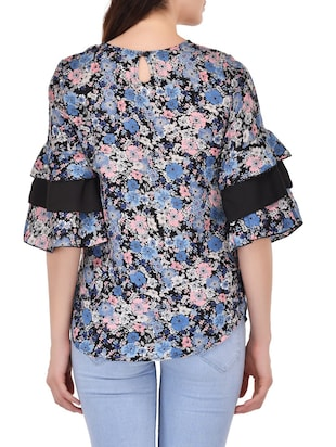 blue poly crepe printed top - 14864277 - Standard Image - 3