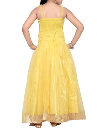 yellow net party gown - 14873211 - Standard Image - 3