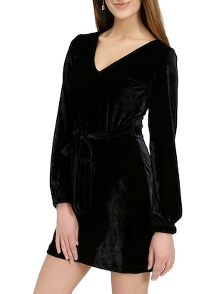black solid belted dress - 14876543 - Standard Image - 3