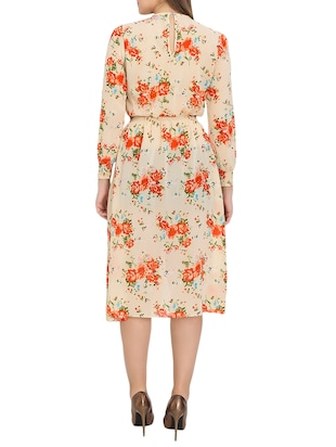 beige printed blouson dress - 14876545 - Standard Image - 3