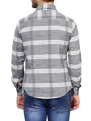 grey cotton casual shirt - 14878824 - Standard Image - 3