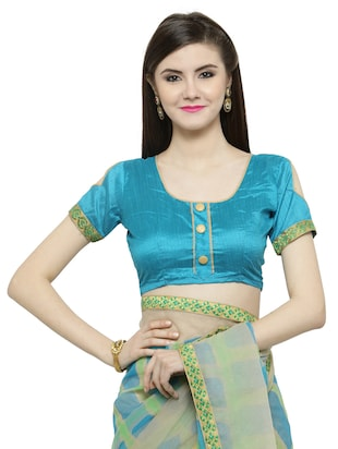 Blue  printed saree with blouse - 14884255 - Standard Image - 3