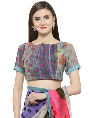 blue georgette printed saree with blouse - 14884289 - Standard Image - 3