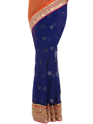 leheriya gota border half & half saree with blouse - 14884769 - Standard Image - 3