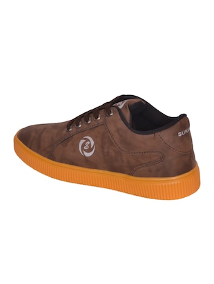 brown leatherette lace up sneaker - 14885092 - Standard Image - 3