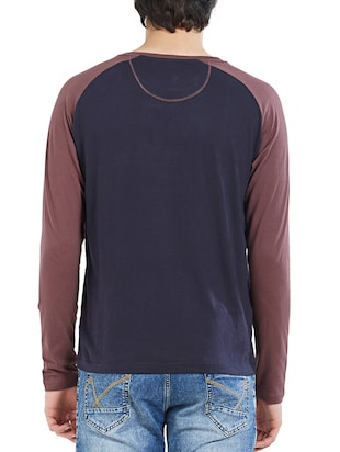 navy blue cotton color block t-shirt - 14887444 - Standard Image - 3