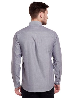 grey cotton casual shirt - 14888529 - Standard Image - 3