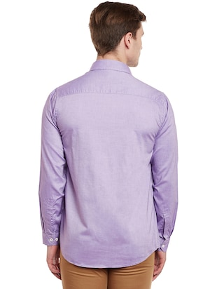 purple cotton casual shirt - 14888579 - Standard Image - 3