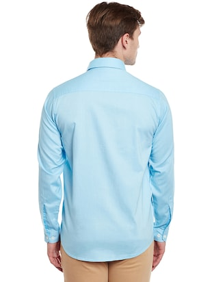 light blue cotton casual shirt - 14888582 - Standard Image - 3