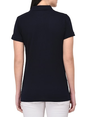 navy blue polo neck tee - 14889056 - Standard Image - 3