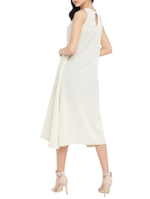 white solid a-line dress - 14890506 - Standard Image - 3