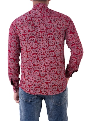 red cotton casual shirt - 14890514 - Standard Image - 3