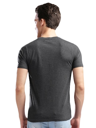 grey cotton front print t-shirt - 14890631 - Standard Image - 3