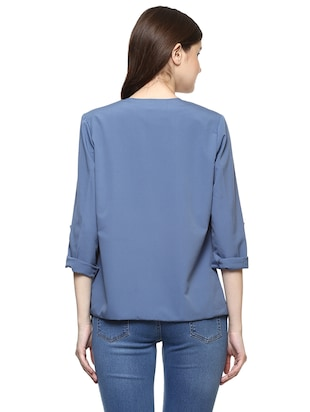 blue solid waterfall shrug - 14890707 - Standard Image - 3