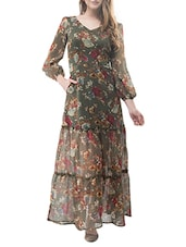 olive floral maxi dress -  online shopping for Dresses