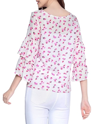 floral ruffle sleeved top - 14891682 - Standard Image - 3