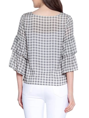 Gingham checked bell sleeved top - 14891683 - Standard Image - 3