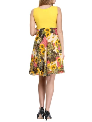 yellow floral fit & flare dress - 14893197 - Standard Image - 3