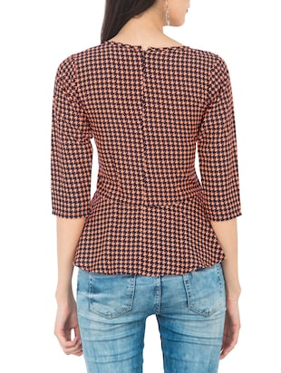 orange houndstooth peplum top - 14893208 - Standard Image - 3