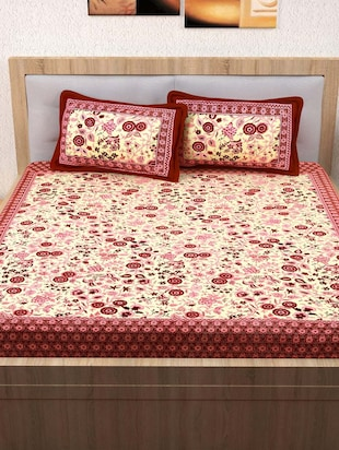 120 TC 100% Cotton Printed 2 Double Bedsheet With 4 Pillow Covers - 14893275 - Standard Image - 3