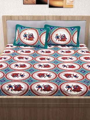 120 TC 100% Cotton Printed 2 Double Bedsheet With 4 Pillow Covers - 14893281 - Standard Image - 3