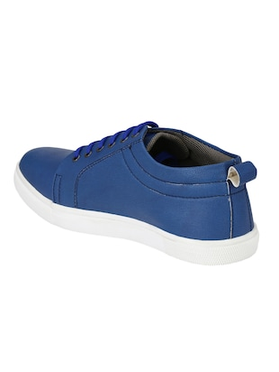 blue leatherette lace up sneaker - 14893344 - Standard Image - 3