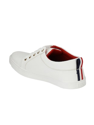 white leatherette lace up sneaker - 14893349 - Standard Image - 3