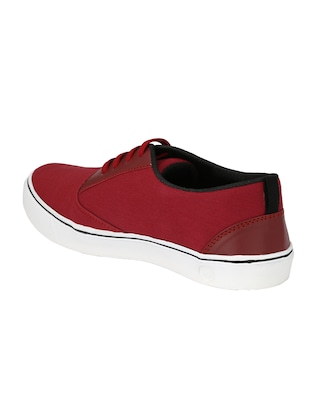 red Canvas lace up sneaker - 14893356 - Standard Image - 3