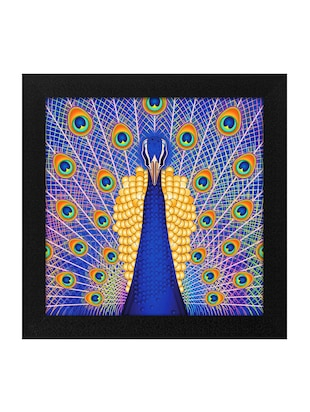 Peacock Print 3Pc Frame For Living Room And Bed Room (Wood, 30 cm x 3 cm x 30 cm, Special Effect Textured) - 14893533 - Standard Image - 3