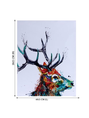 Sharp Horn Stag Canvas Painting - 14893943 - Standard Image - 3