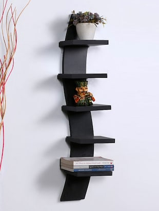 Mdf Floating Wall Shelf Rack Curve Shape 5 Tier - 14894247 - Standard Image - 3
