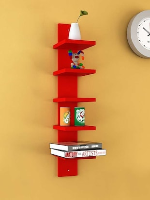 Mdf Floating Wall Shelf Rack Curve Shape 5 Tier - 14894256 - Standard Image - 3