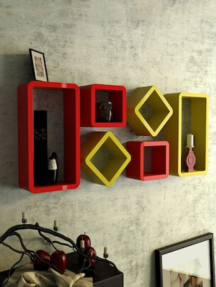 Decor Wall Rack Shelves Cube Rectangle Designer Wall Shelf Set Of 6 - 14894370 - Standard Image - 3